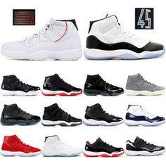 new arrival ce4e0 34fef 11 Gym Red Platinum Tint Basketball Shoes Prom Night Concord Space Jam Jams  Legend Gamma Blue 11s Cool Grey Bred Men Cap and Gown Sneakers
