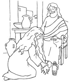 Mary Magdalene worshiped Jesus by anointing his feet with her costly oil, and He was blessed! Bible story coloring page, printable