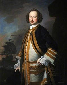 Admiral Sir George Pocock by Thomas Hudson, 1749 Oil on canvas, 125 x cm Collection: National Museum of the Royal Navy, Portsmouth Larp, Royal Navy Officer, Navy Uniforms, 18th Century Clothing, Man Of War, Academic Art, Men In Uniform, Old Paintings, Art Uk