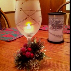 Frosted Wine Glass Decoration with Flameless Candle Diy Wedding, Wedding Reception, Wedding Ideas, Christmas Ideas, Christmas Decorations, Holiday Decor, Fancy Wine Glasses, Thanksgiving Parties, Flameless Candles