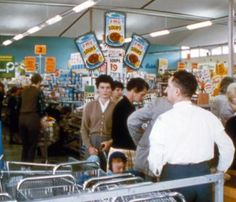 Vintage colour photo of customers near the checkout area of a grocery store. Go Shopping, Shopping Malls, Supermarket Sweep, Variety Store, Local Studies, Vintage Shops, Vintage Stuff, Retro Images, Happy Pictures