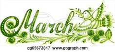 Month of March Clip Art | Stock Illustration - March, name of the month, hand drawn, vector ...