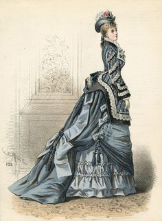 March fashion, 1875 France, L'Élégance Parisienne. If ppl back then added layers to get volume, big bottom girls should rock it out ;)
