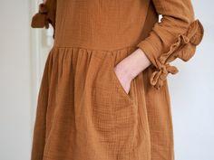 Idée pour coudre la double gaze en coton bio vendue sur 36bobines (boutique en ligne) : robe Twiggy