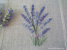 lavender embroidery on linen: