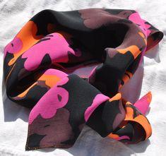 Marimekko scarf bright floral print, Marimekko scarf for women