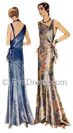 1930 Evening Gown Pattern by EvaDress, Vionnet-esque - Prom Dresses Design 1930s Fashion, Art Deco Fashion, Retro Fashion, Vintage Fashion, Fashion Design, Club Fashion, Edwardian Fashion, Vestidos Vintage, Vintage Gowns