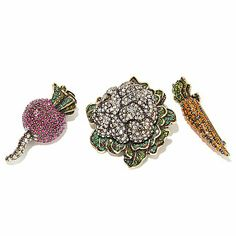 """These are amazing!!!! Heidi Daus """"Crudités"""" Crystal-Accented Set of 3 Pins"""