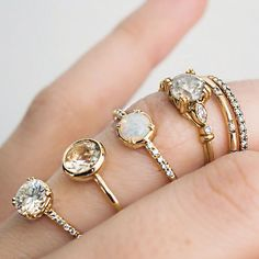 Moissanite, Oregon Sunstone, Australian Opal, and Vintage Grey Diamond - Ethical rings all ready for ASAP delivery for holiday engagements. The Oregon Sunstone is a one-of-a-kind  hello@skind.nyc for details!
