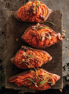Twice-Baked Sweet Potatoes with Bacon-Sesame Brittle Recipe | Epicurious.com