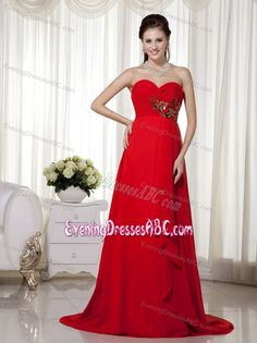 Sweetheart Bright Red Ruched Evening Dress with Gold Appliques