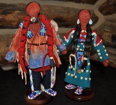 Native American Crow Pair of Dolls by Cedric T. Walks, Crow Agency, Montana