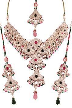 3859e2d1f7 Multi Diamond Studded Necklace Set Online Shopping Sarees, Ethnic Gown,  Latest Sarees, Salwar