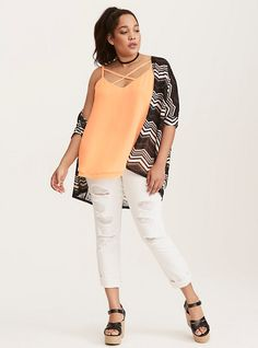 Strappy Front Double Layered Chiffon Cami, PRAIRIE SUNSET