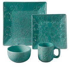 Turquoise 16 Piece Savannah Dinnerware Set