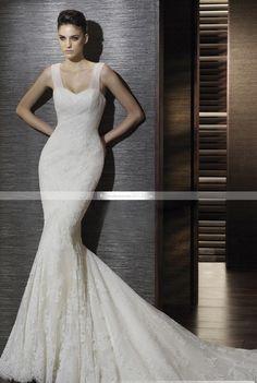 Robe de Mariage Somptueuse Sirène Trompette Décolleté Coeur Sans Manche