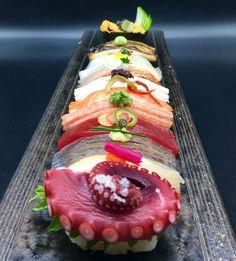 Saturday sushi .octopus kanpachi wild horse mackerel tuna toro King salmon hamachi golden eye snapper shima aji Sakura dai anago uni . .
