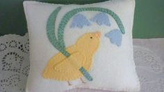 Felt Applique Pillow Spring Chick Blue Bell by pennysbykristie, $26.00