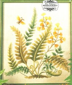 "VINTAGE ELSA WILLIAMS LEAVES ""FERN FRONDS"" CREWEL EMBROIDERY KIT #ElsaWilliams Crewel Embroidery Kits, Vintage Embroidery, Fern Frond, Ferns, Needlework, Elsa, Leaves, Projects, Gifts"