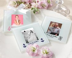 These frosted glass photo coasters are personalized wedding favors from Kate Aspen, printed with your favorite design, names, and wedding date.