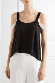 Black and white silk-crepe  Slips on 100% silk Dry clean