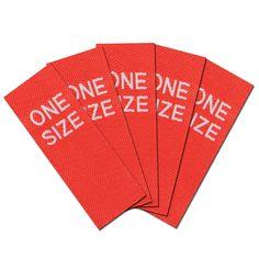 Fertige Größenetiketten, Textiletiketten, handmade Stofflabels für die Handarbeit. http://www.namensbaender.de/shop/one-size-rot-weiss/