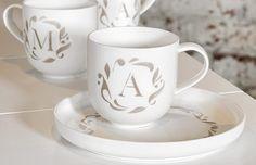 Pentik Monogrammi Tea Cups, Tableware, Dinnerware, Tablewares, Place Settings, Tea Cup, Cup Of Tea