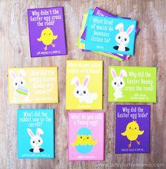 Free Printable Easter Lunch Box Jokes at artsyfartsymama.com