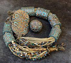 Collar ,anillo y pendientes < Oro Turquesa