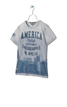 Printed jersey T-shirt, Light Blue