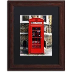 Trademark Fine Art English Phone Booth London Canvas Art by Philippe Hugonnard, Black Matte, Wood Frame, Size: 16 x 20, Brown