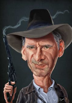 Harrison Ford as Indiana Jones Funny Caricatures, Celebrity Caricatures, Celebrity Drawings, Harrison Ford, Actors Male, Actors & Actresses, Betty Boop, Caricature Drawing, Portraits