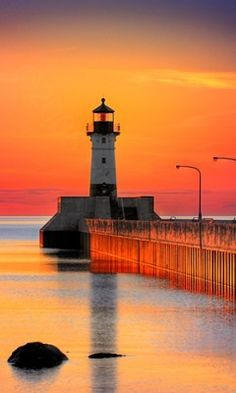 Canal Park Lighthouse Sunrise · Canal Park, Duluth Minnesota began operation in Beautiful World, Beautiful Places, Beautiful Pictures, Beautiful Sunset, Canal Park Duluth, Lighthouse Pictures, Lighthouse Art, Belle Photo, The Places Youll Go