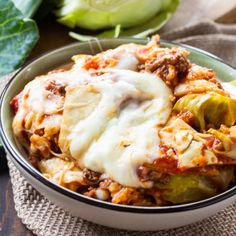 Crock Pot Cabbage Roll Casserole is a filling and hearty casserole full of ground beef, rice, and tomato sauce with melted mozzarella cheese on top. Casserole Recipes, Meat Recipes, Slow Cooker Recipes, Crockpot Recipes, Cooking Recipes, Kale Recipes, Cabbage Recipes, Cooking Food, Cooking Tips