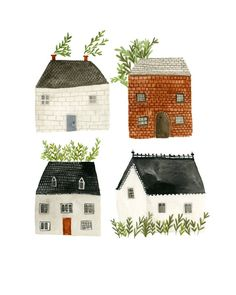 Four Houses art print. This is an open edition reproduction of my original mixed media illustration. Each print is signed. SIZES Available in 3 sizes: Small - The paper measures around 8 inches high and 5 inches wide. Medium - The paper measures around 11 House Illustration, Watercolor Illustration, Watercolor Paintings, Illustrations, Building Illustration, House Drawing, Little Doll, House Painting, Prints For Sale