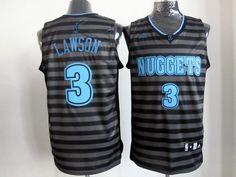 Adidas Denver Nuggets #3 Ty Lawson Black Grey Strip NBA Jerseys