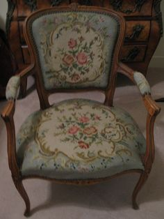 LOUIS XV FRENCH  WALNUT FAUTEUIL NEEDLEPOINT ARM CHAIR