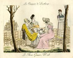 Plate 18: three young women sit amidst a mass of empty chairs, and converse with the woman who is clearing them away. 1802-12  Hand-coloured etching