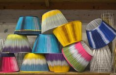 Ikat Lampshade - Aubergine Lime Pleated - Designed by Ptolemy Mann