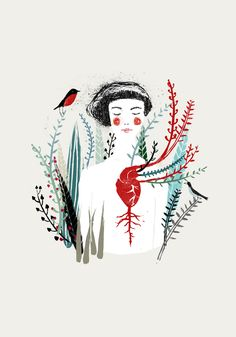 elisa talentino, heart, bird, nature, drawing, sketch, colour, illustration