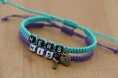 Couples Bracelets Set His and Hers Bracelets Key by BlessedCouples, $17.99