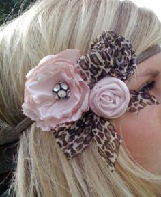 LC Vintage Pink Leopard Headband Newborn to Adult Size Check out all our Headbands in the Boutique Hair Bow Section - Children's Christmas Clothing - Cassie's Closet