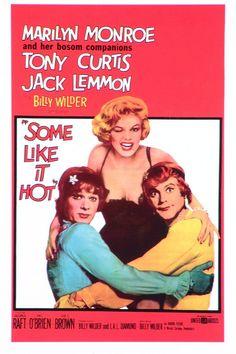 Marilyn Monroe, Tony Curtis, Jack Lemmon. Director: Billy Wilder. IMDB: 8.4 ______________________ http://en.wikipedia.org/wiki/Some_Like_It_Hot http://www.rottentomatoes.com/m/some_like_it_hot/ http://www.tcm.com/tcmdb/title/16637/Some-Like-It-Hot/ Article: http://www.tcm.com/this-month/article/86508|0/The-Seven-Year-Itch.html http://www.allmovie.com/movie/some-like-it-hot-v45555