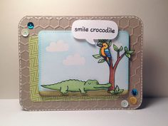 """Lawn Fawn - Critters Down Under, Stitched Journaling Card Lawn Cuts die, A Birdie Told Me coordinating die, Into the Woods cloud stamp, Into the Woods Mixed Sequins, Pink Lemonade 6x6 paper _ super cute """"Smile Crocodile"""" Card by Yukari via Flickr - Photo Sharing!"""
