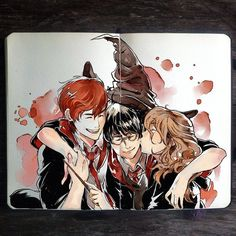 Harry Potter, Ron Weasley and Hermione Granger Harry Potter Fan Art, Harry Potter Anime, Mundo Harry Potter, Harry Potter Magic, Harry Potter Drawings, Harry Potter Universal, Harry Potter World, Hogwarts, Slytherin