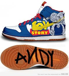 Toy Story Dunks - Sweeeet I wannt them; Andy marks on the bottom is an awesome touch