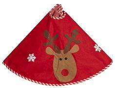 christmas tree skirt fabric | Christmas Tree Skirt Red With Cute Reindeer Design Fabric Tree Skirt ...
