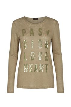 Make a statement with this irresistible long tee. It's proudly detailed with signature values for MOS MOSH; Passion, Love & Heart, lettering in sequins at front. Cut for a comfortably loose fit and has a scoop neck. Style yours with tailored pants for the office, switching to jeans for the weekend.