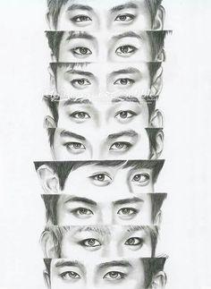 by FallThruStardust on DeviantArt Kpop Drawings, Art Drawings Sketches Simple, Pencil Art Drawings, Bts Eyes, Witchy Wallpaper, Exo Anime, Eyes Artwork, Sehun, Notebook Art
