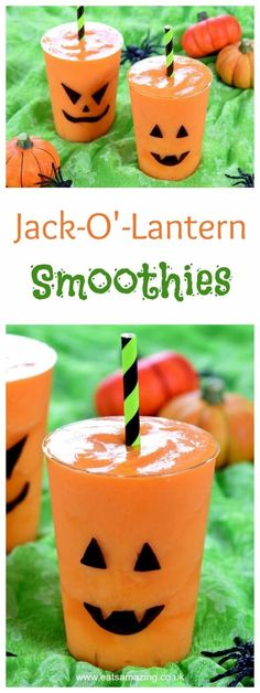 Quick and Easy Jack O Lantern Smoothies for Halloween - Kids will love this fun Halloween drink - perfect for a healthy Halloween - Eats Amazing UK
